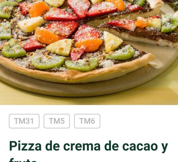 Pizza de nutella con fruta